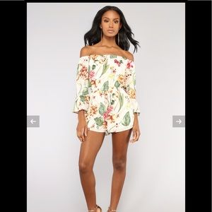 FashionNova Belize Tropical Romper - Ivory Multi